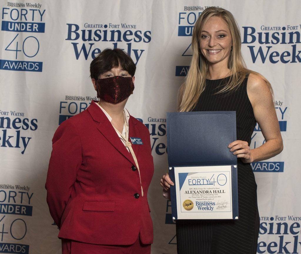 Alexandra Hall accepts her award