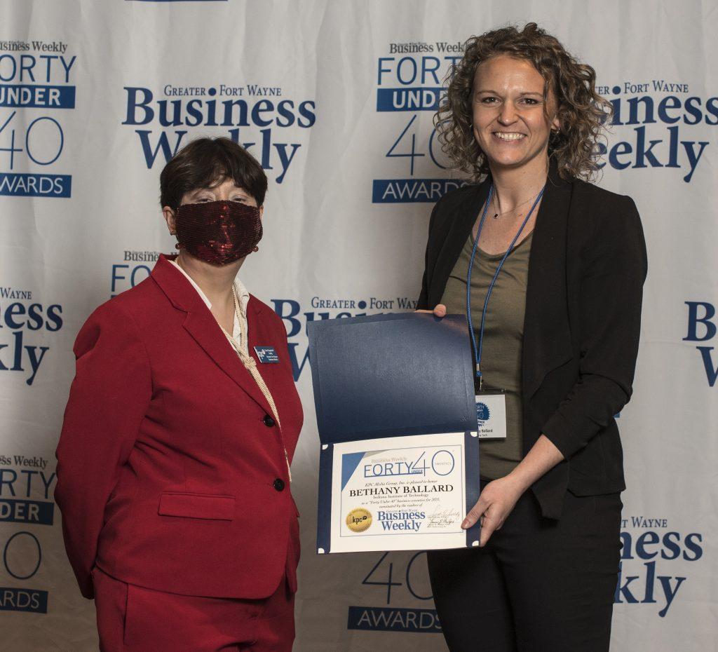 Bethany Ballard accepts her award