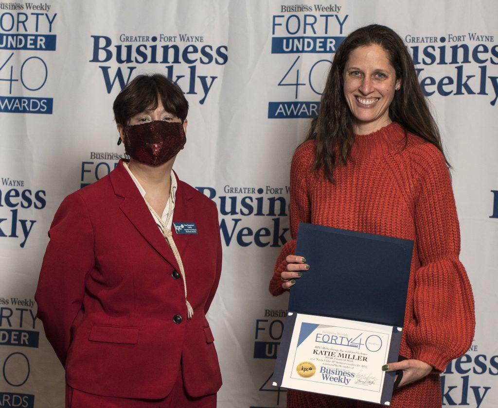 Kate Miller accepts her award.