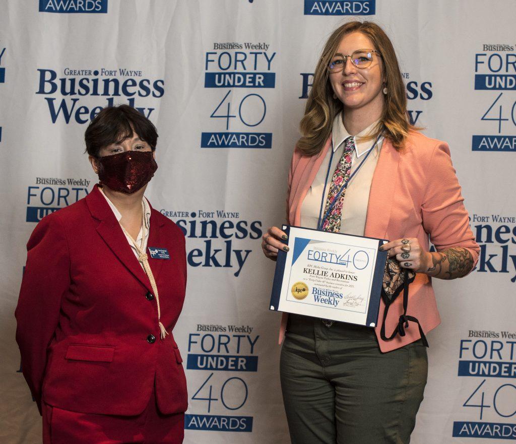 Kellie Adkins accepts her award.