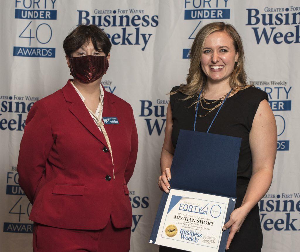 Meghan Short accepting her award.