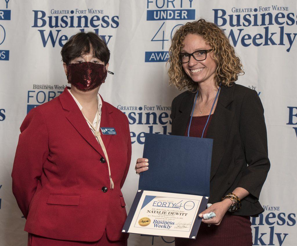 Natalie DeWitt accepting her award.